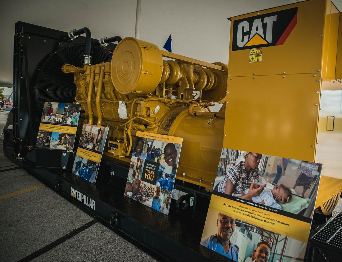 Before its journey to Haiti begins, the Cat® 3500 is displayed in Lafayette, Indiana (where it's manufactured).