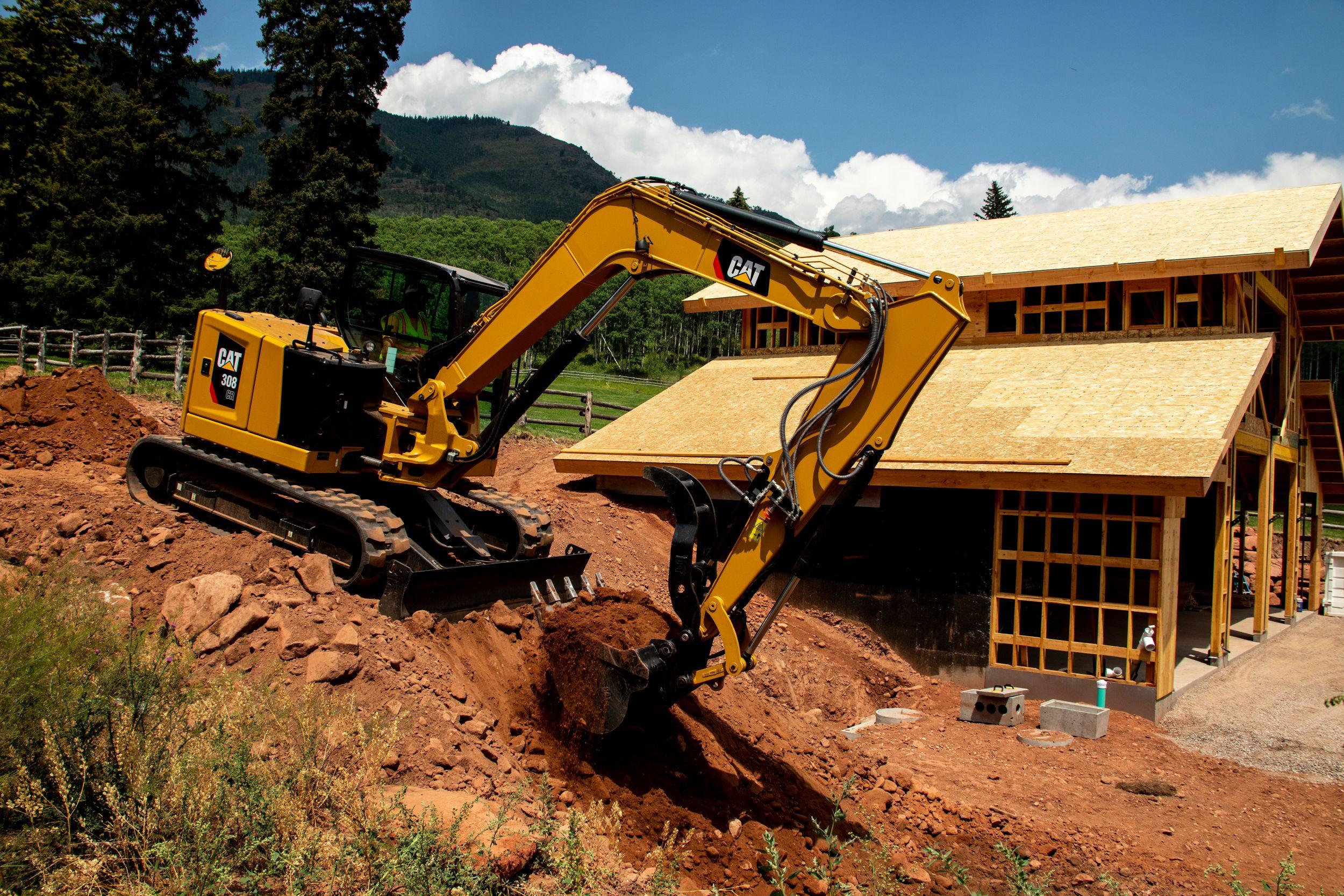 The Cat Next Generation 308 CR mini excavator