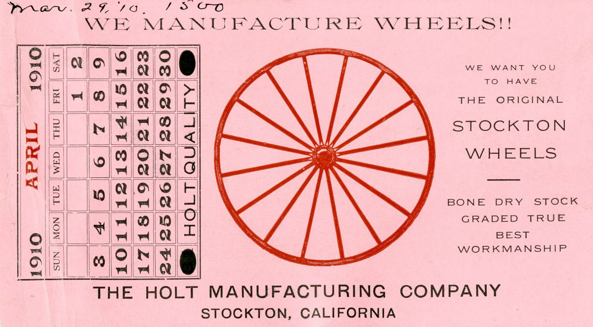 Holt Manufacturing Company Calendar Card, April 2010.