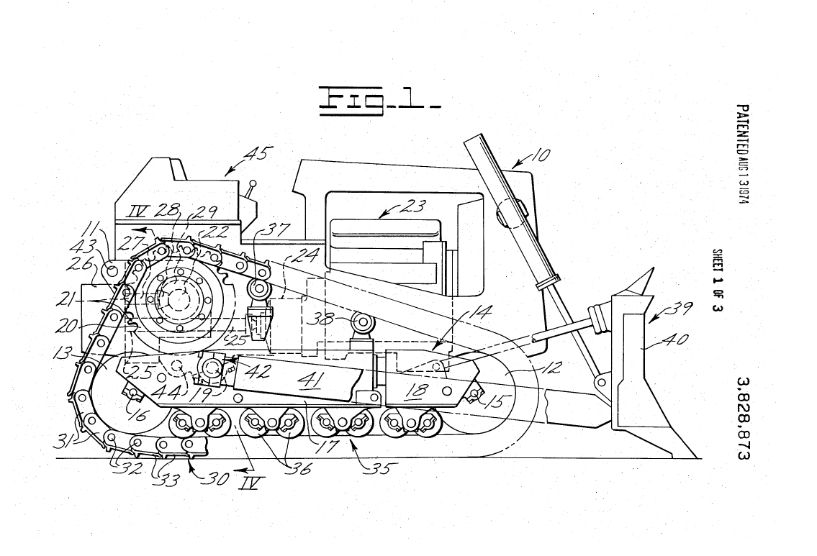 High drive track-type vehicle patent, 1974