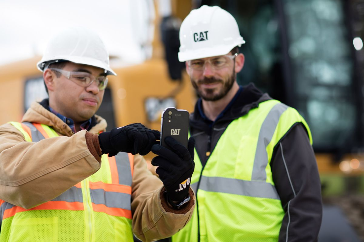Mobile phone with construction equipment