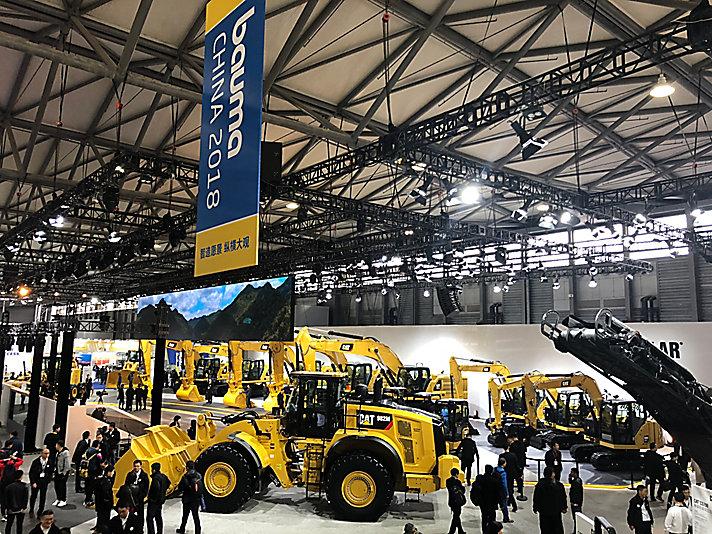 卡特彼勒展出30余种机械设备,涵盖卡特和山工机械两个品牌