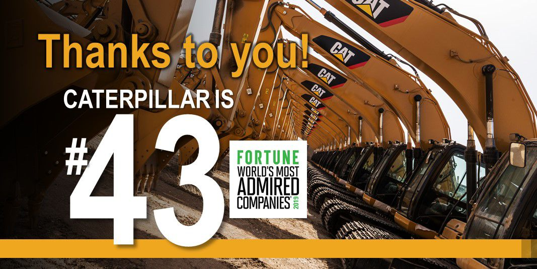Caterpillar Ranked #43 on Fortune World's Most Admired Companies 2019