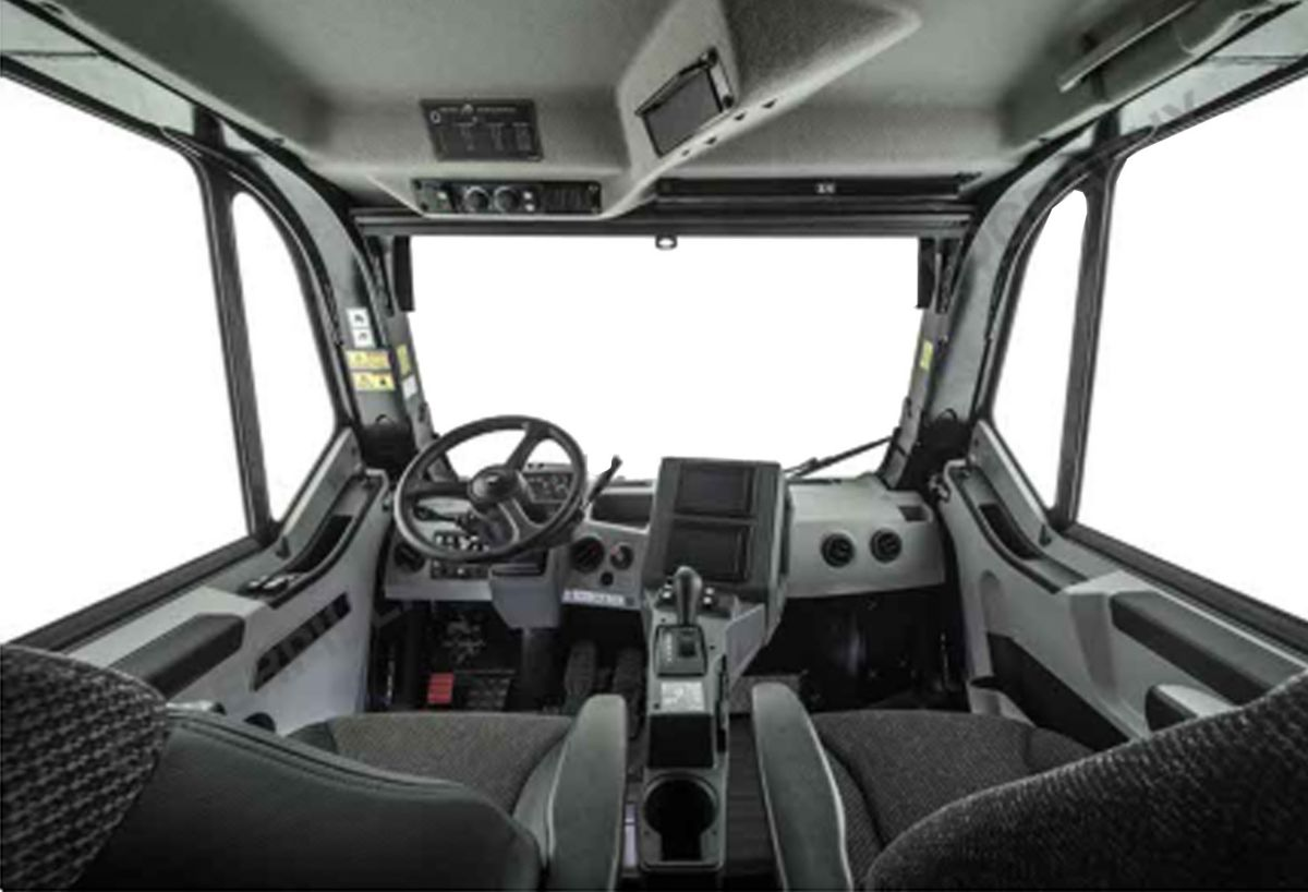 The redesigned cab of the Cat 777G off-highway truck