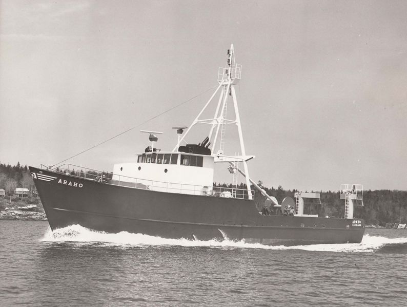 Built as a red fish boat in South Bristol, Maine, the Araho was the first boat to incorporate the steelable kort nozzle, an innovative propulsion device that improved fuel efficiency and handling capability.