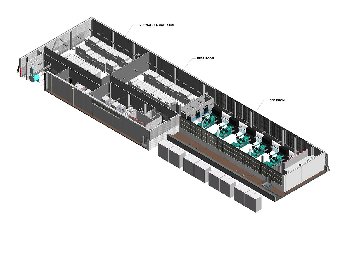 Figure 3: This 3-D image shows rooms for the EPS and EPSS separate from normal service in a central utility plant for a large mission critical facility.