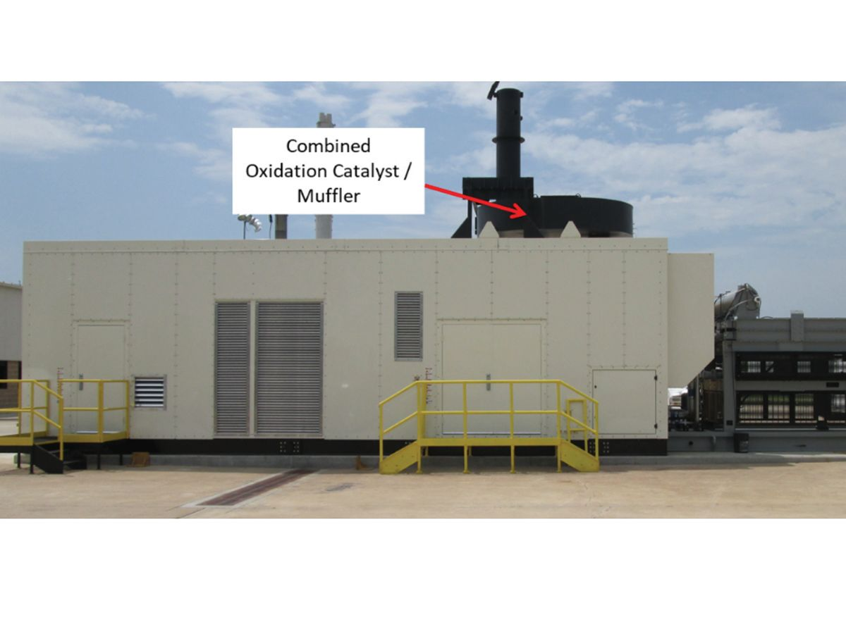 Figure 1: Oxidation catalyst integrated with muffler  to control CO on a 2 MW gas generator set