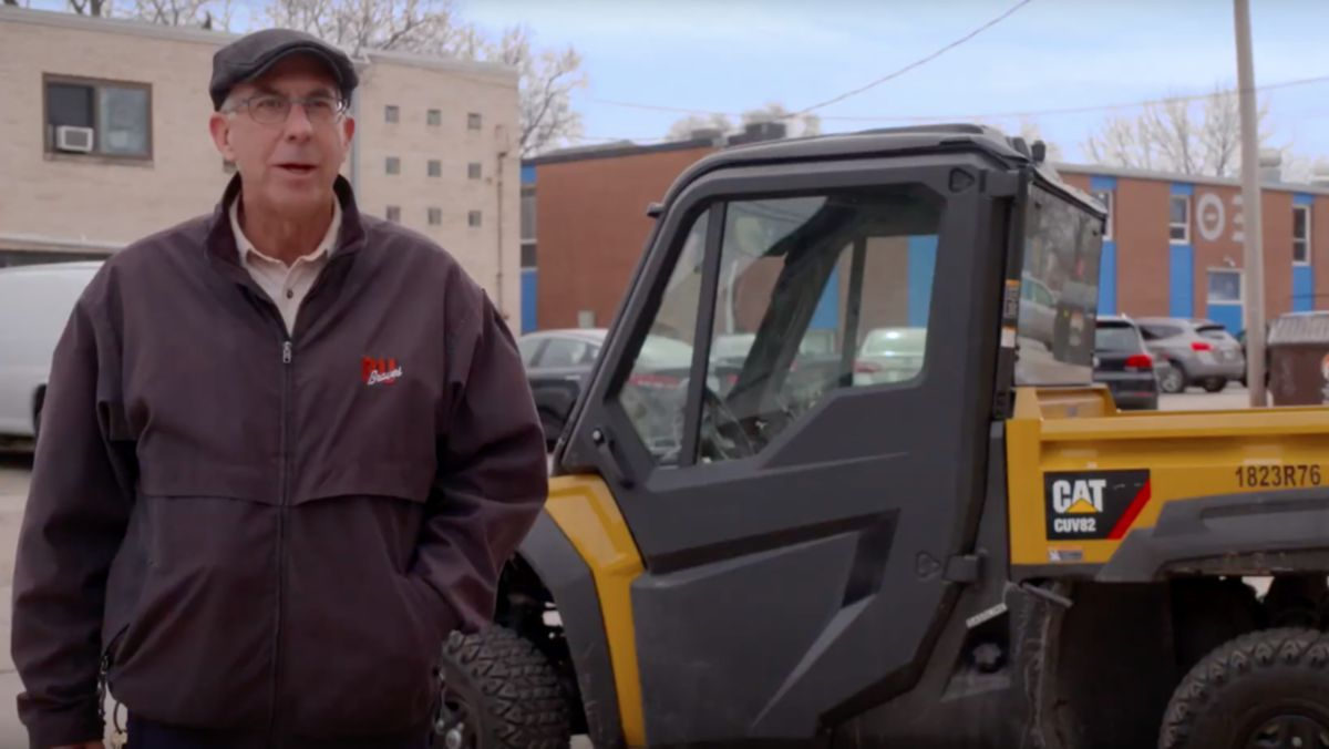 Bradley University uses four Cat UTVs to help with snow removal and winter maintenance.