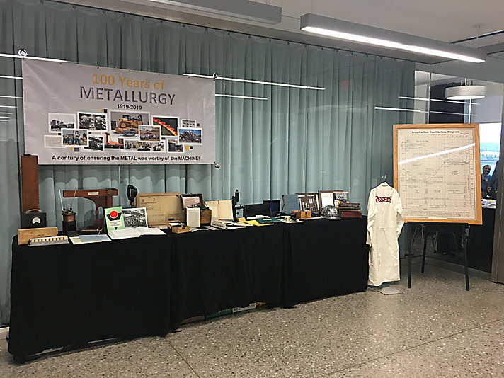 "Metallurgical artifacts on display at the ""100 Years of Metallurgy"" celebration."