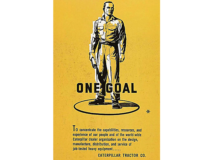 This poster was displayed in front of Caterpillar's 1957 CONEXPO exhibit.