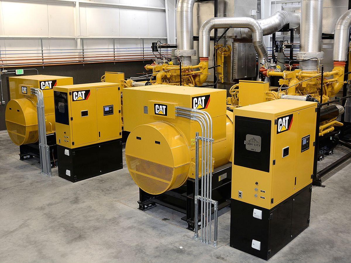 Located behind the new 17,000 square-foot office of Lehi City Power, the Broadbent Generation Facility first opened in March 2018. It has three Cat G3520H generator sets that produce 7.2 MW of power during times of peak demand, when energy prices are high.