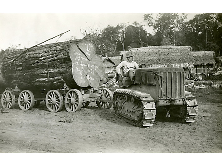 Caterpillar 5-Ton tractor logging in Punta Gorda, Florida, in 1929.