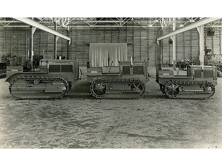 Part of the 1929 Caterpillar tractor model lineup on display.