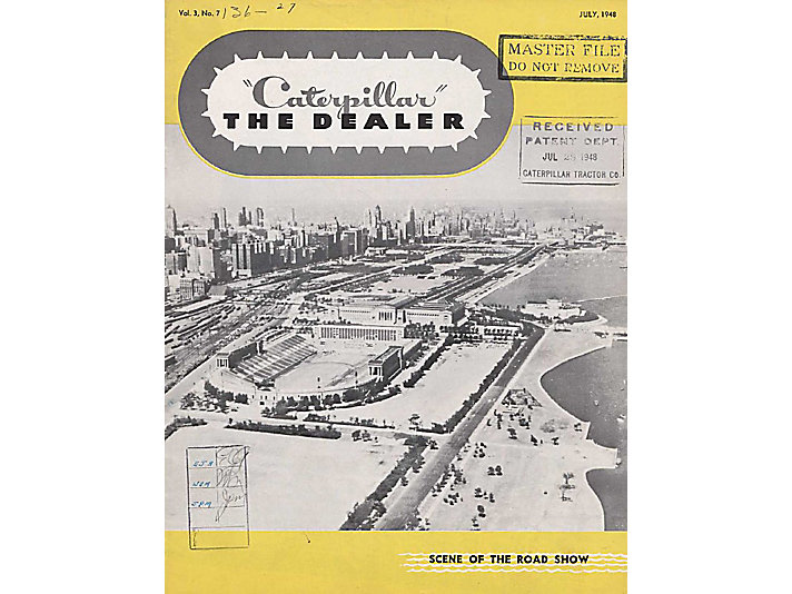 Caterpillar Dealer Magazine featuring the 1948 Road Show in Chicago