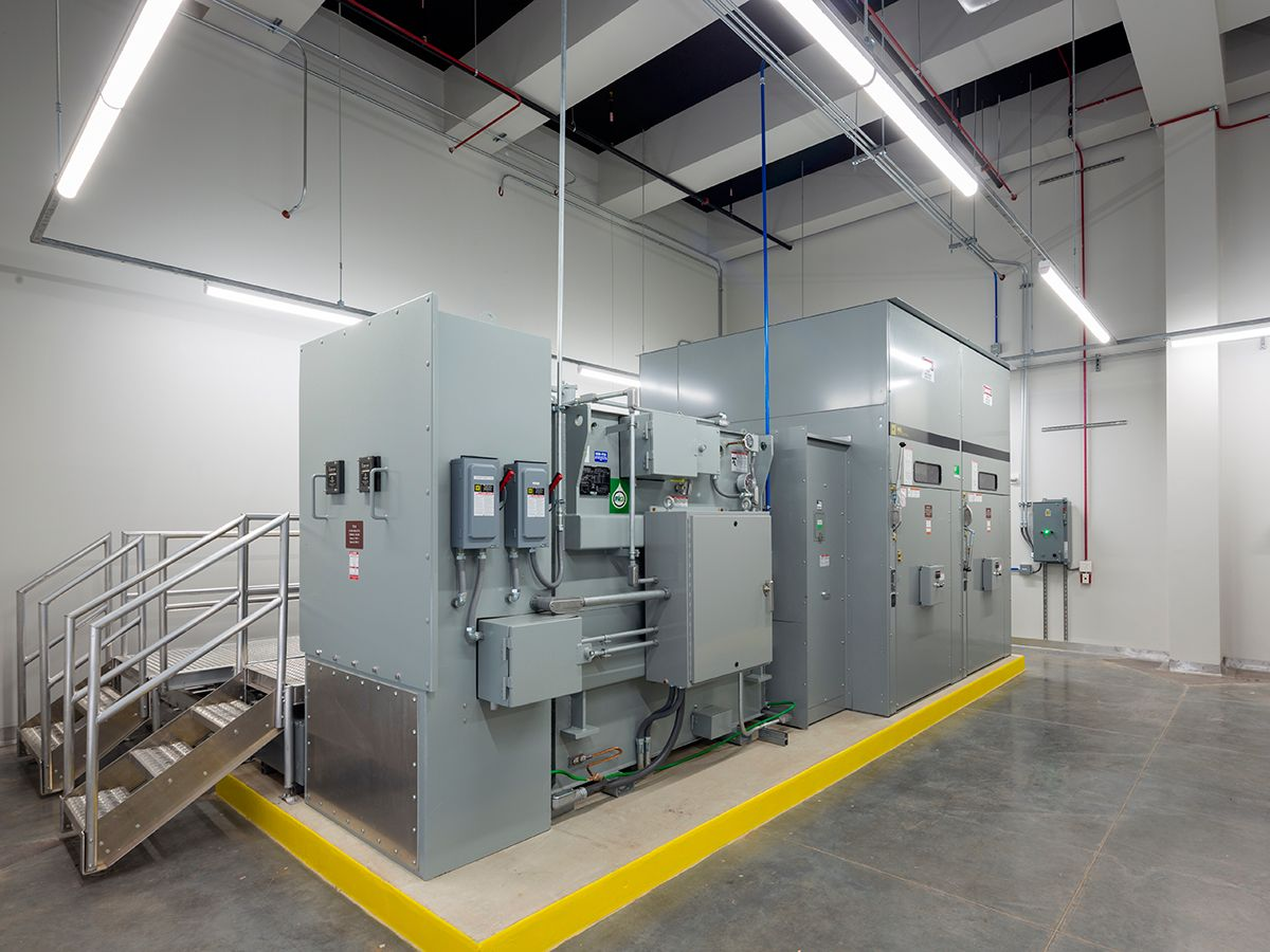Figure 4: This substation room has medium-voltage, fire safe, biodegradable dielectric fluid-filled transformers.