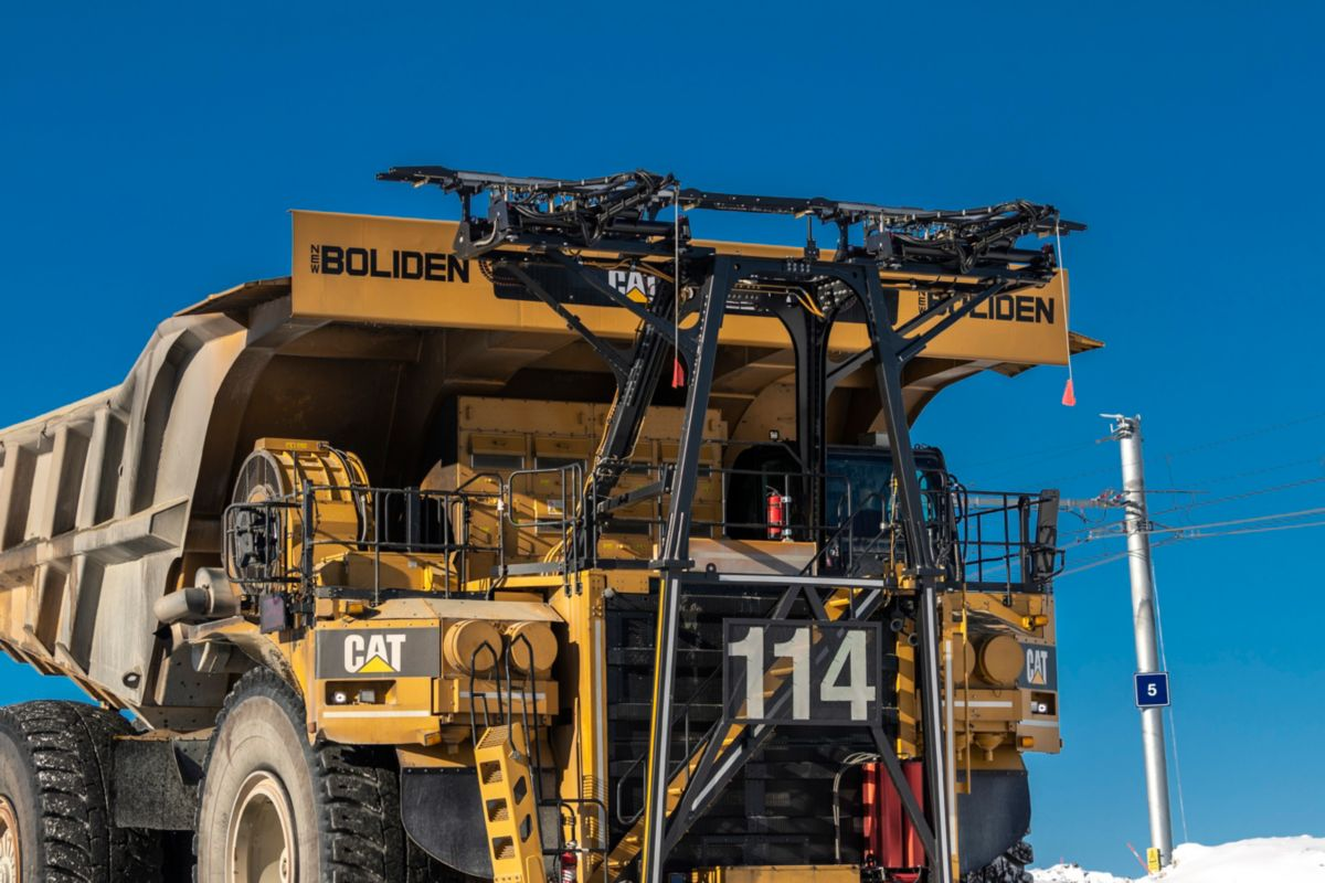 Trolley assist pantograph on Cat 795F AC truck at Boliden Aitik mine.