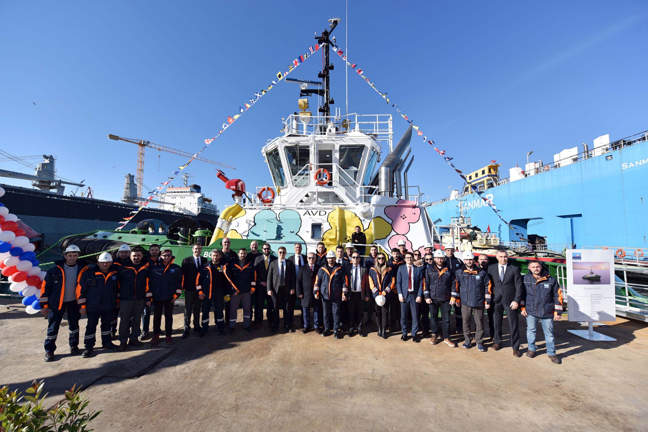 Ceremonial launch of Sanmar's Boğaçay38 tug
