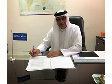 Picture: Chairman of Obaikan Equipment and Services WLL, Mr Ali Al Obaidly, signs the distributor agreement.
