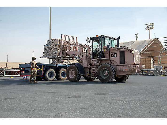 Cat® 930K ATLF machines are assisting in efforts to prepare relief supplies for shipment to Lebanon.