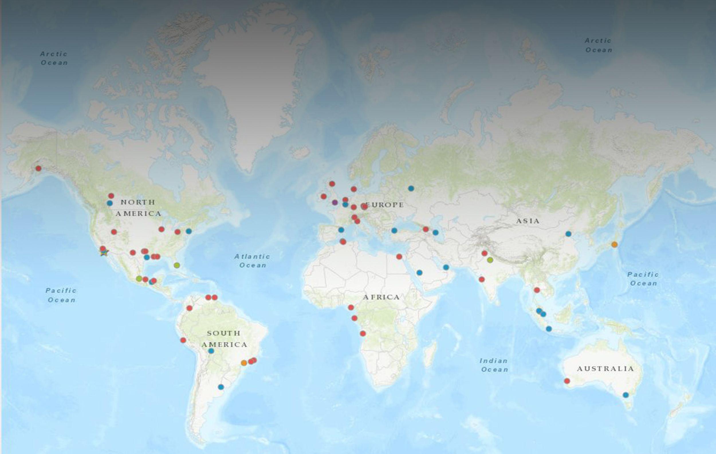 Расположения офисов по всему миру