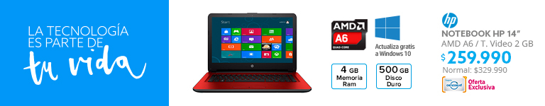 Notebook HP 14 AMD A6 Quad Core 4GB/500GB/ T. Video 2 GB a $279.990