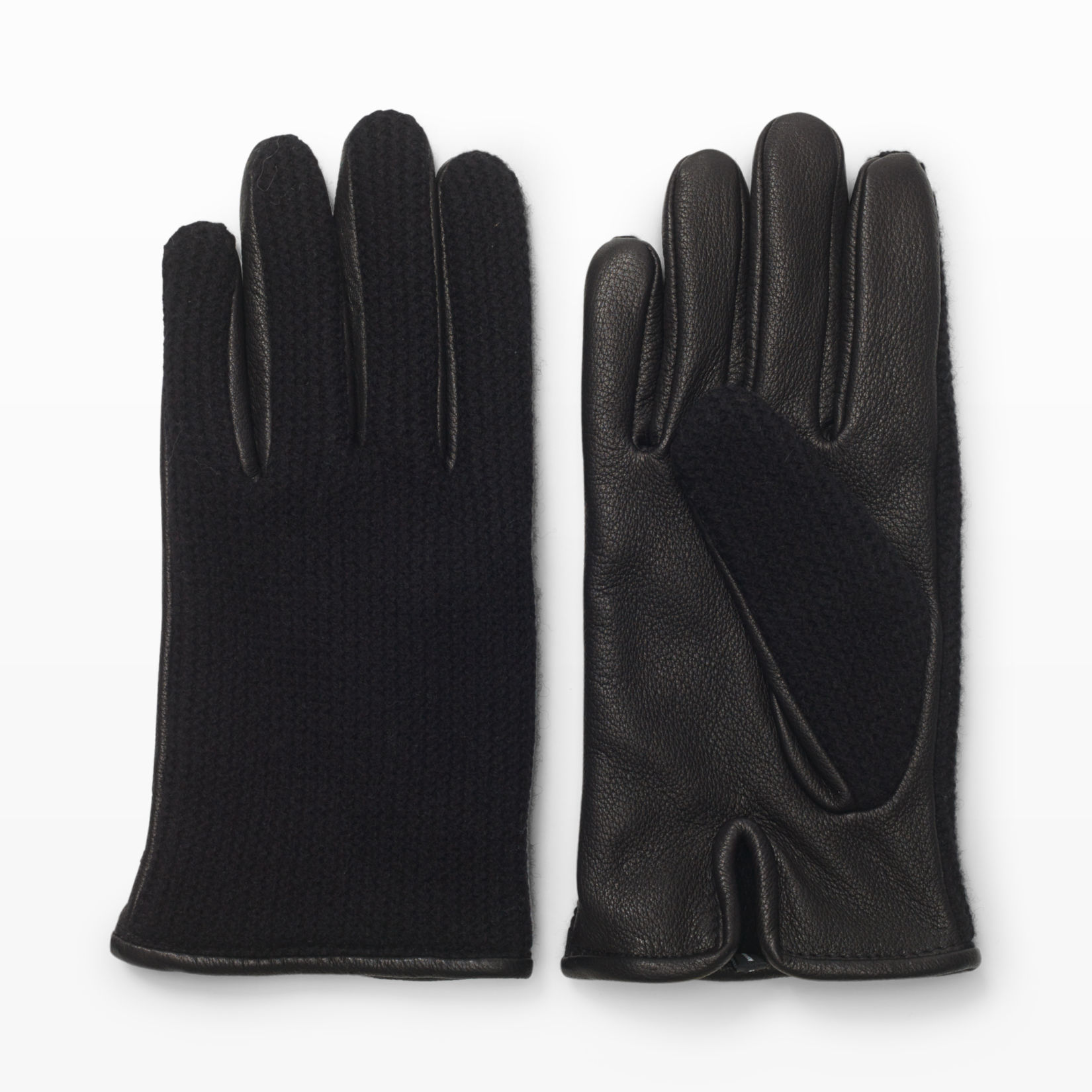 Mens leather gloves grey - Men Half Knit Leather Glove Club Monaco