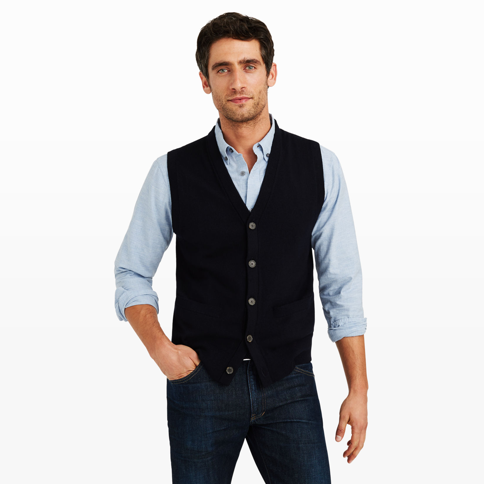 Sweater Vest Over Dress Shirt