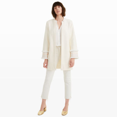 Club Monaco Cream Jacket with Embroidered Sleeves