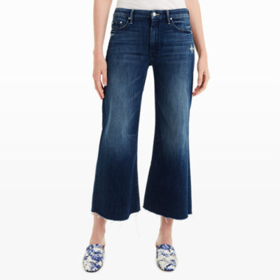 The Roller Crop Fray Jeans Mother