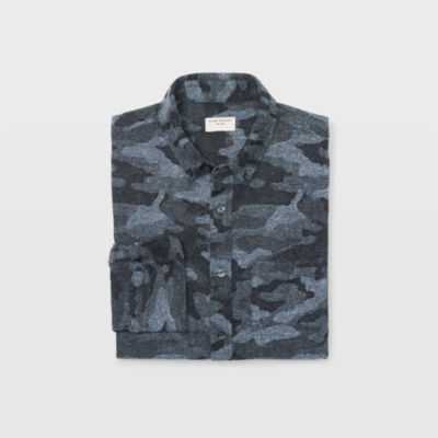 Button-down Collar Camouflage-print Donegal Cotton-blend Shirt Club Monaco