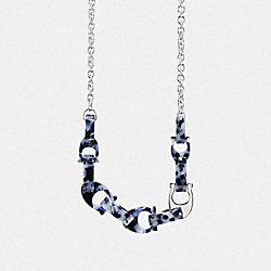 CHUNKY SCULPTED SIGNATURE CHAIN STATEMENT NECKLACE - SV/BLUE - COACH 1031