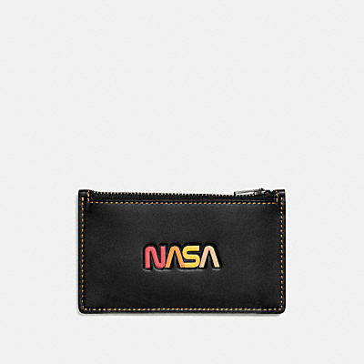 ZIP CARD CASE IN GLOVETANNED LEATHER WITH NASA