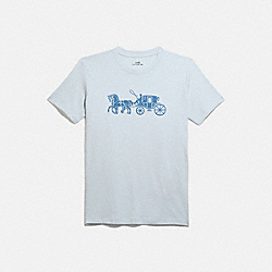 HORSE AND CARRIAGE T-SHIRT - BABY BLUE - COACH 1054