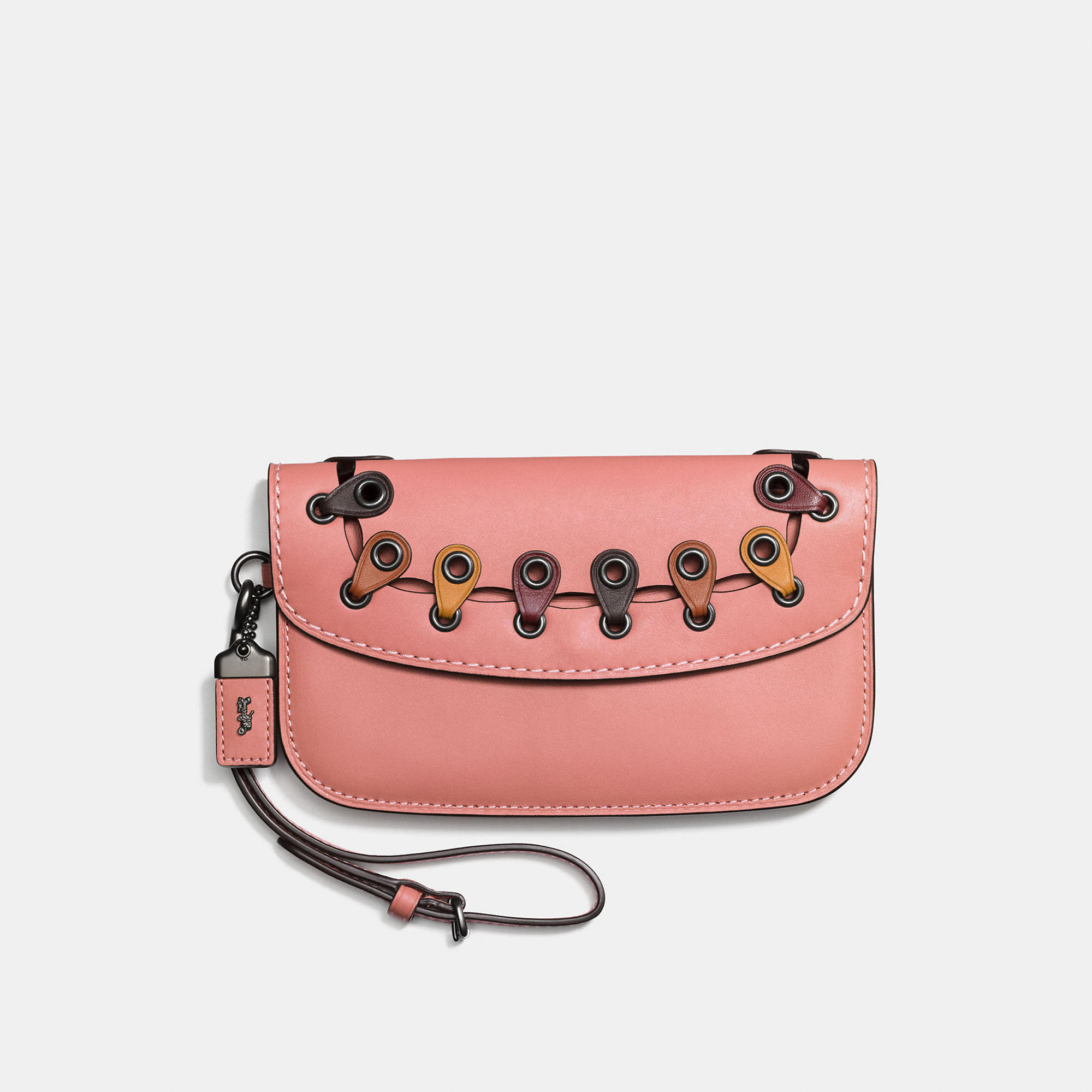 Coach Clutch With Colorblock Link Detail