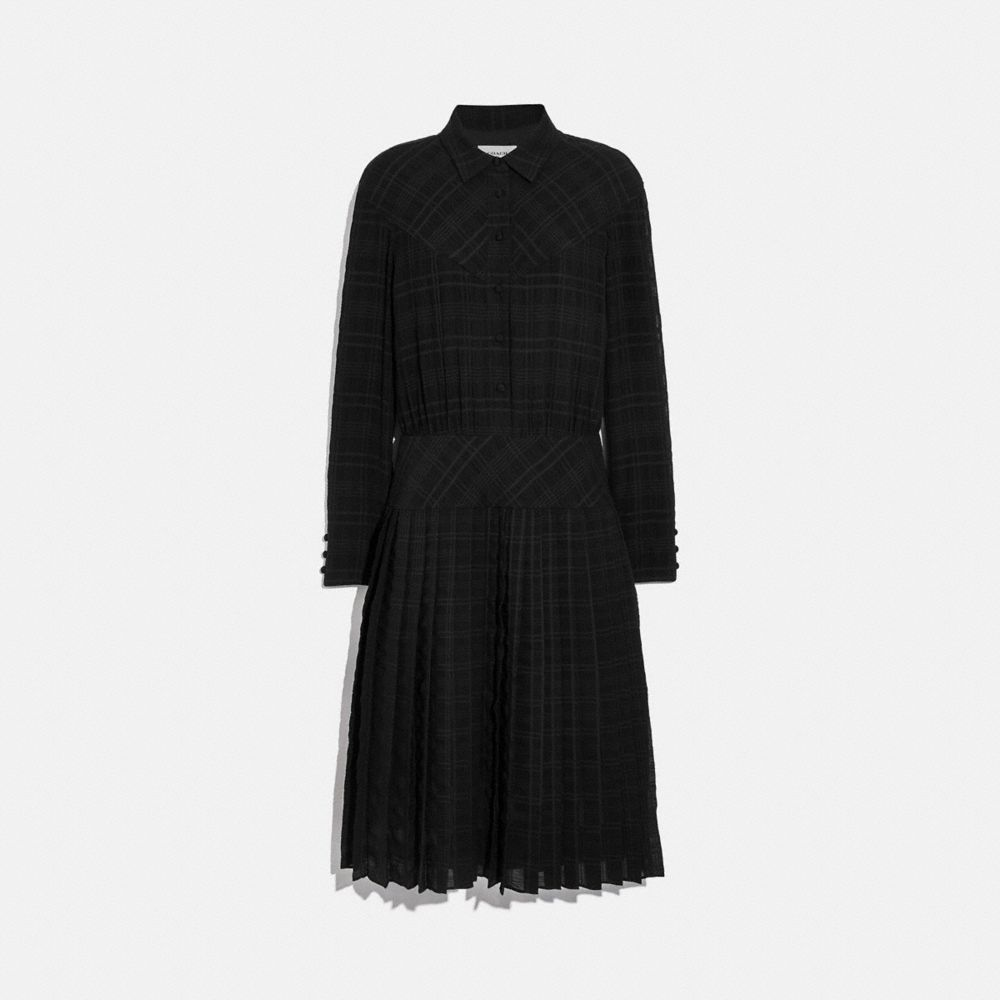 플래드 플리티드 셔츠 드레스