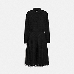 PLAID PLEATED SHIRT DRESS - BLACK - COACH 1061