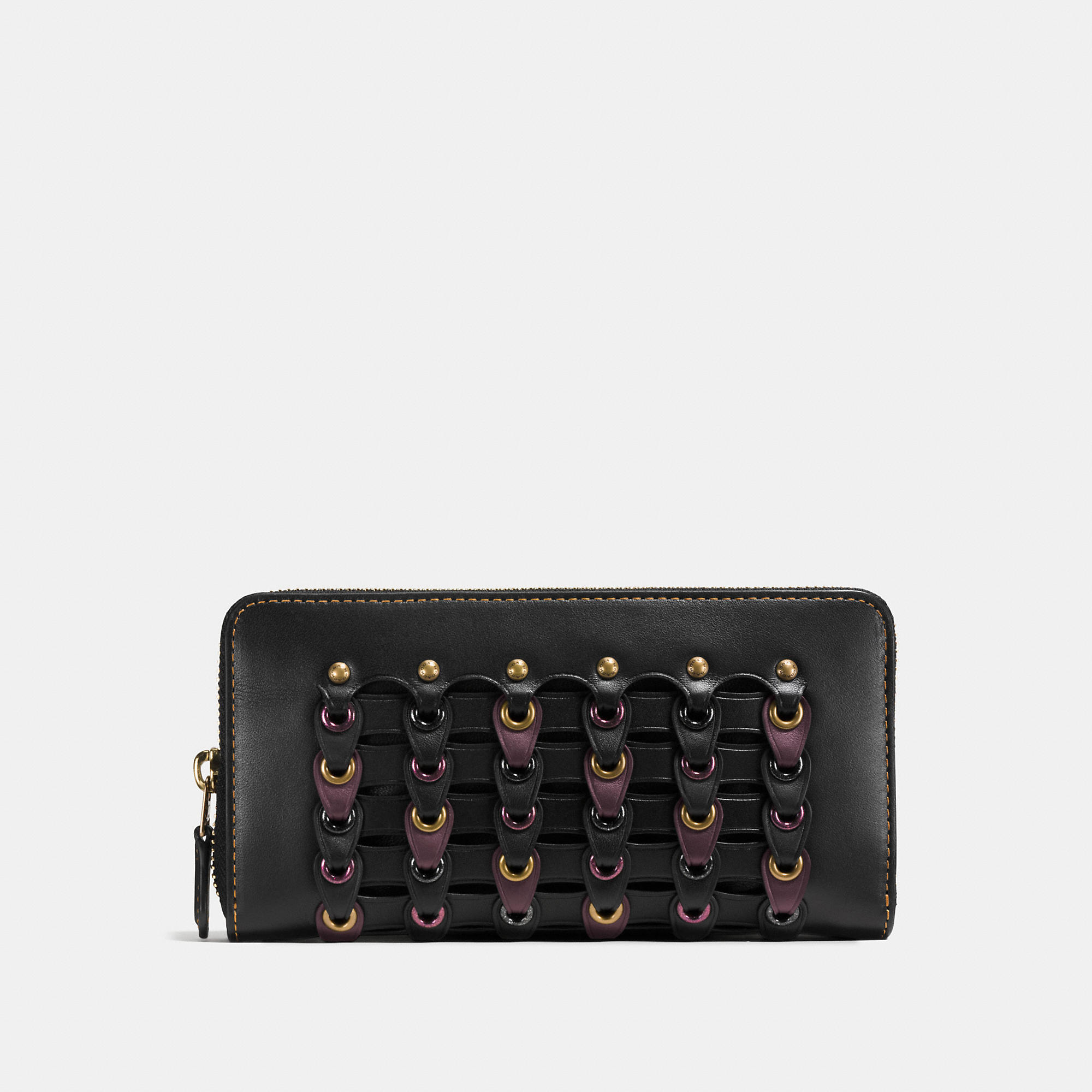 Coach Accordion Zip Wallet In Link Glovetanned Leather