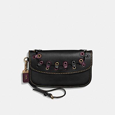 COACH LINK 棒球手套鞣製皮革手拿包