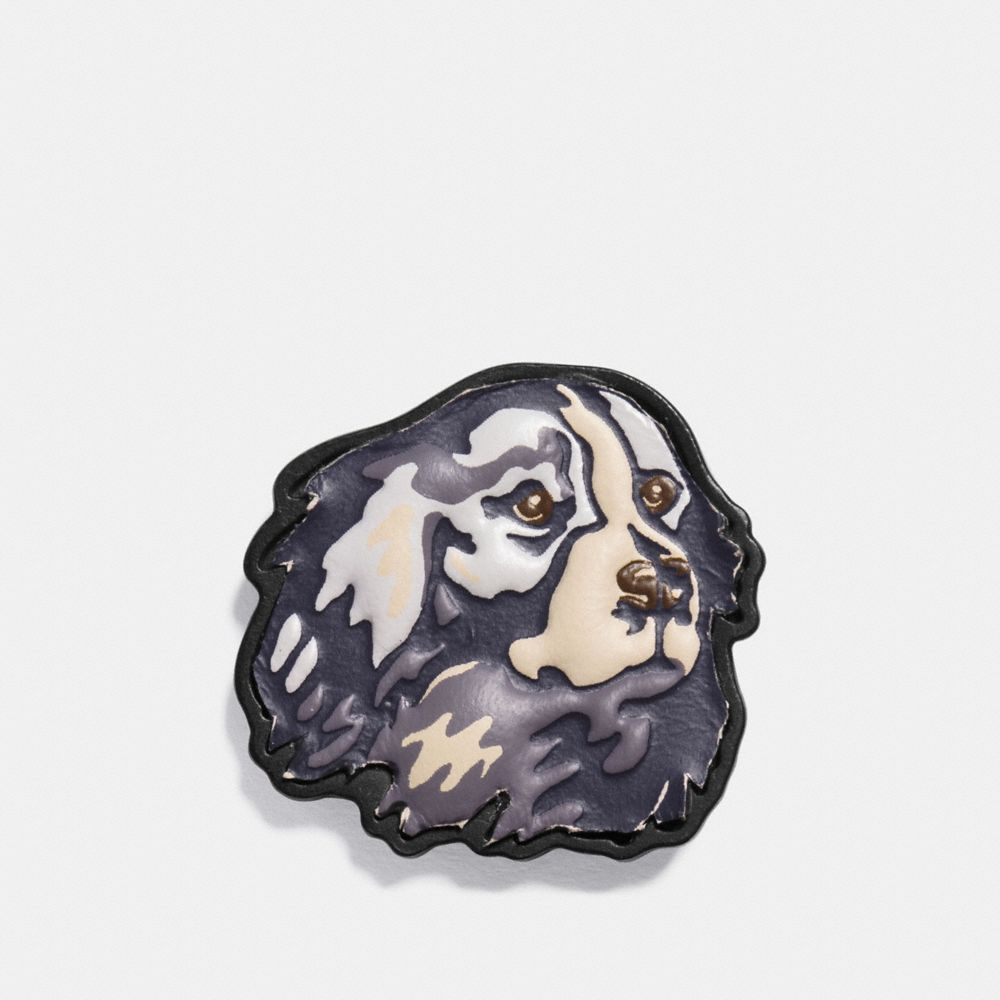 VINTAGE DOG LEATHER PIN - Alternate View