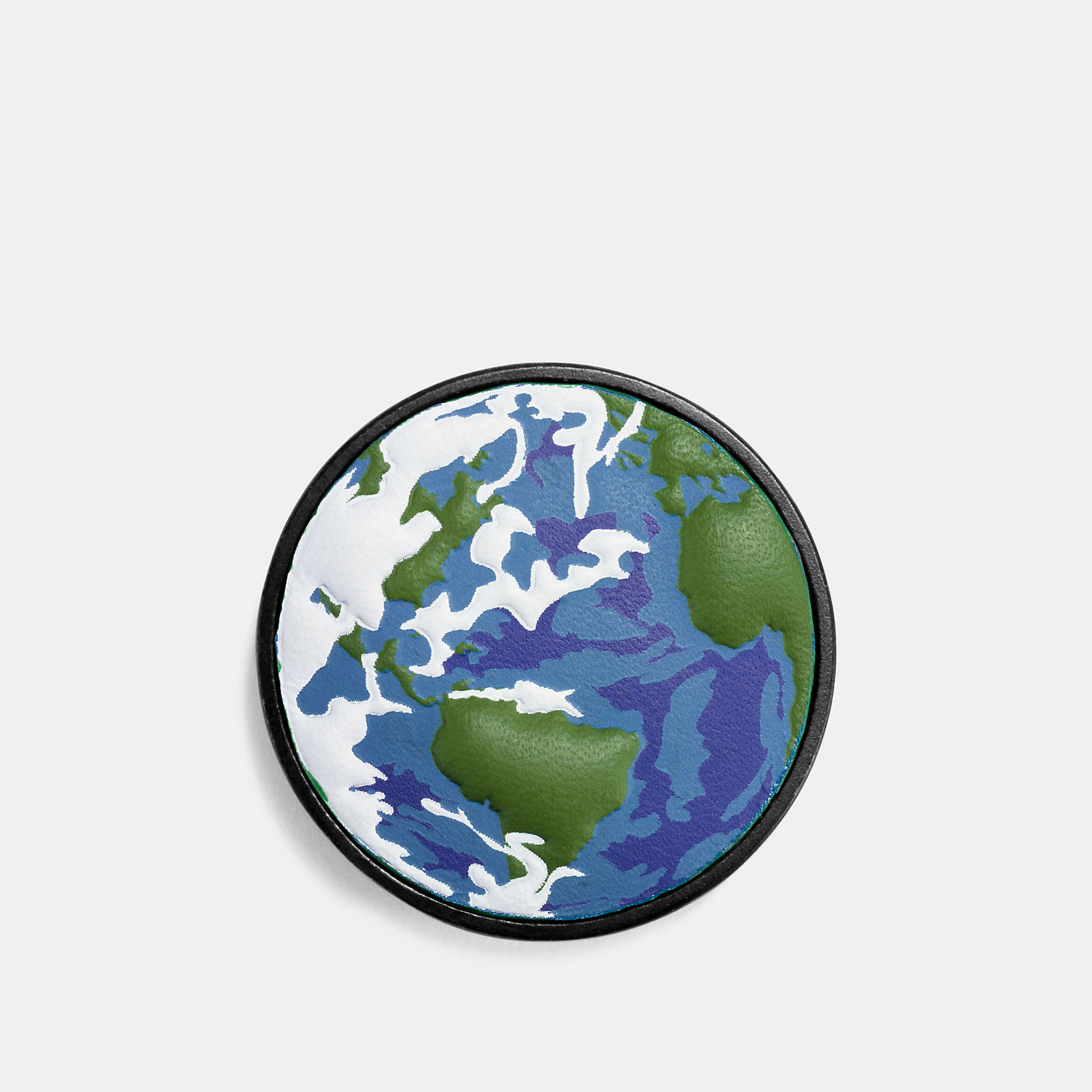 Coach Planet Earth Leather Pin