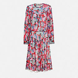 BOLD GEO YOKE DRESS - RED/PINK - COACH 1066