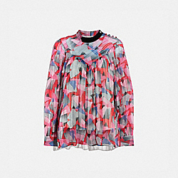 BOLD GEO YOKE SHIRT - RED/PINK - COACH 1070