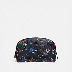 COSMETIC CASE 17 WITH WILDFLOWER PRINT - BRASS/MIDNIGHT NAVY MULTI - COACH 1084