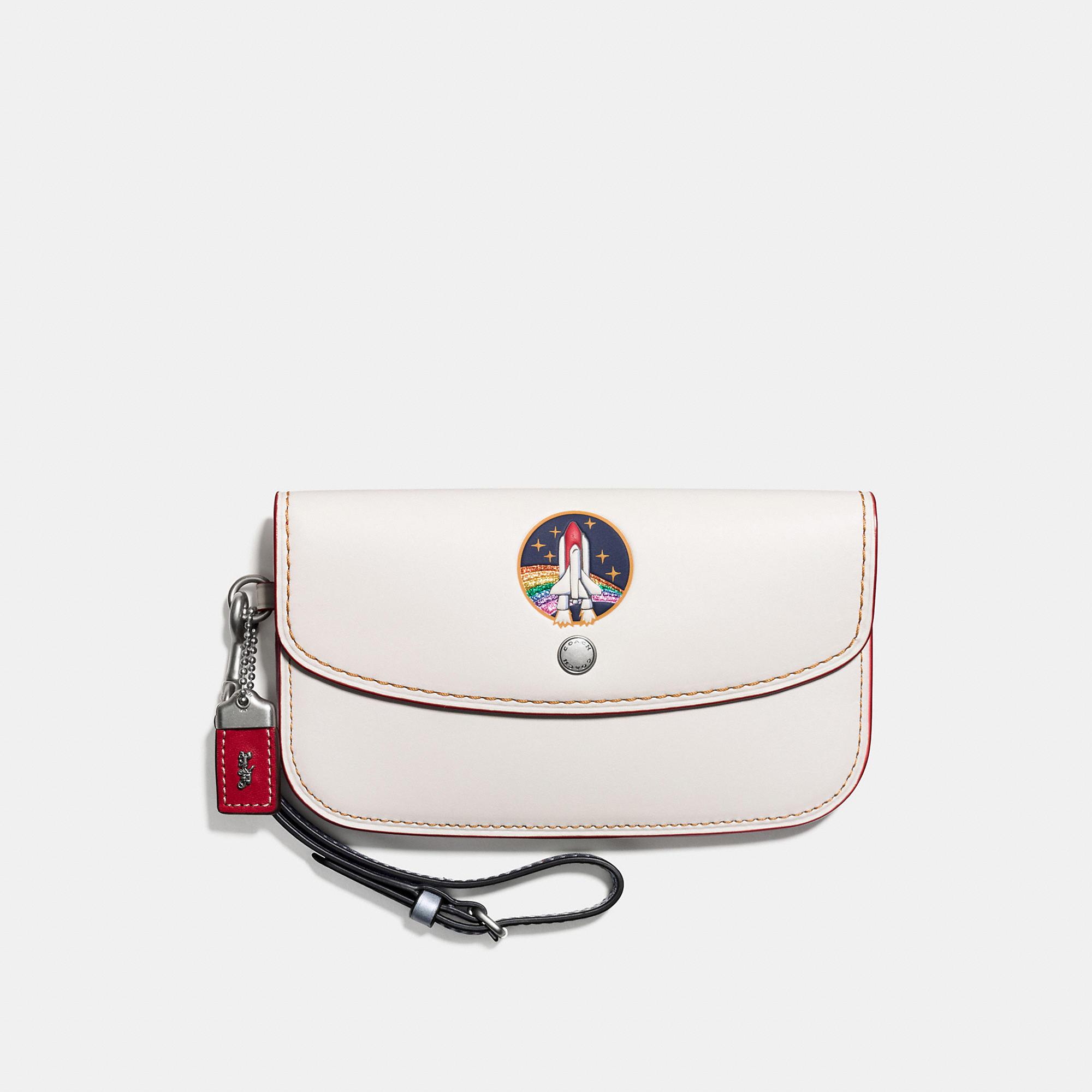 Coach Clutch In Glovetanned Leather With Embossed Rocket Shuttle