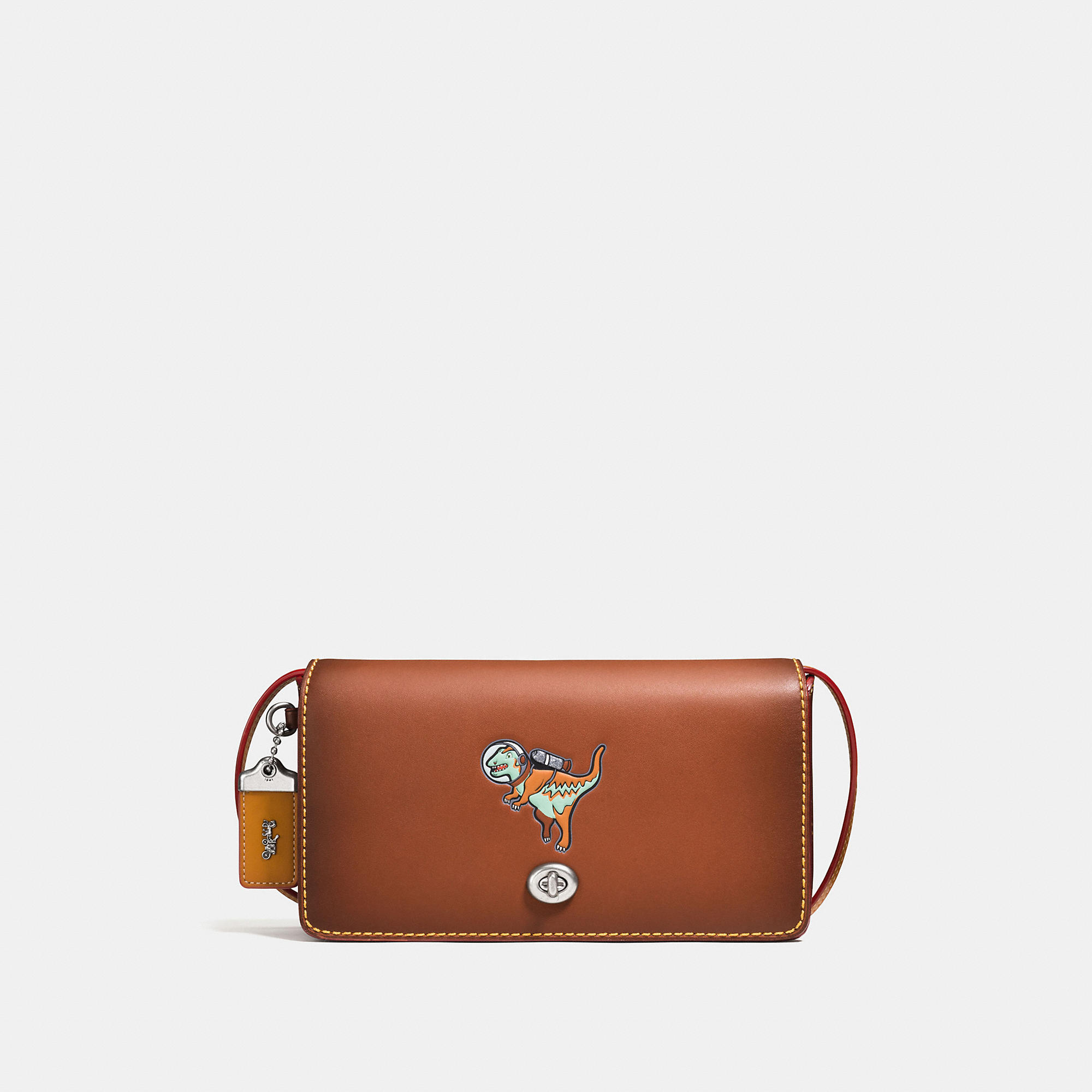 Coach Dinky In Glovetanned Leather With Space Rexy