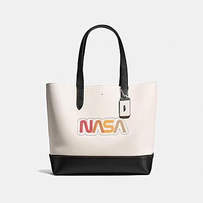 GOTHAM TOTE IN GLOVE CALF LEATHER WITH NASA
