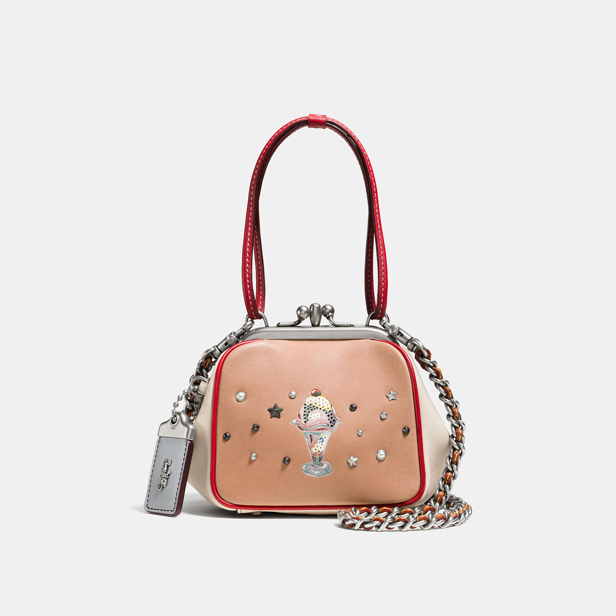 Coach Kisslock Frame Bag 23 In Glovetanned Leather With Sundae Embellishment