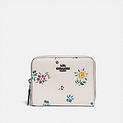 SMALL ZIP AROUND WALLET WITH WILDFLOWER PRINT - V5/CHALK - COACH 1139