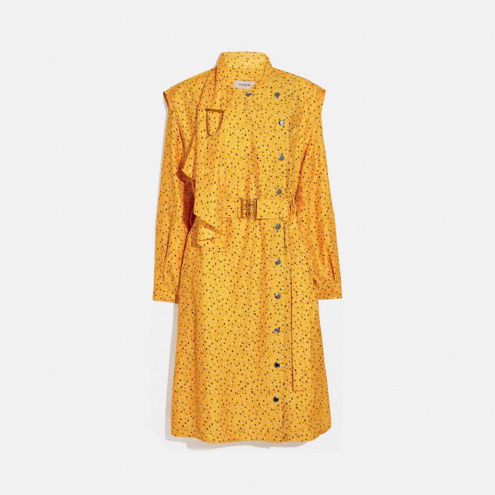 도트 프린트 아키텍처럴 드레이프 벨티드 드레스