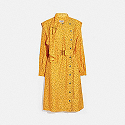 DOT PRINT ARCHITECTURAL DRAPE BELTED DRESS - YELLOW/BLUE - COACH 1146